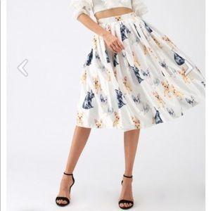 Chicwish French Bulldog Print Midi Skirt
